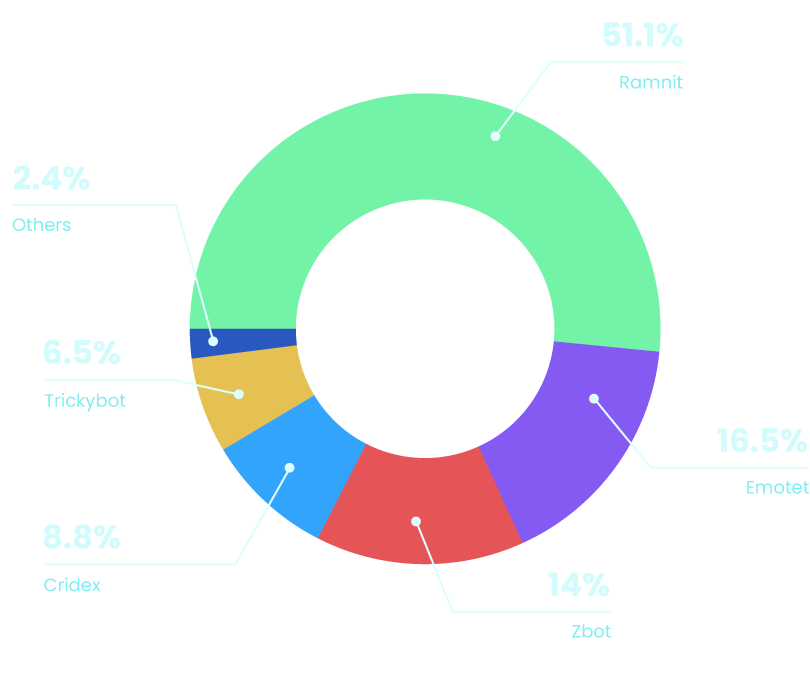 A diagram, that shows the use of the different financial trojans. 51.1% Ramnit, 16.5% Emotet, 14% Zbot, 8.8% Cridex, 6.5% Trickybot, 2.4% others